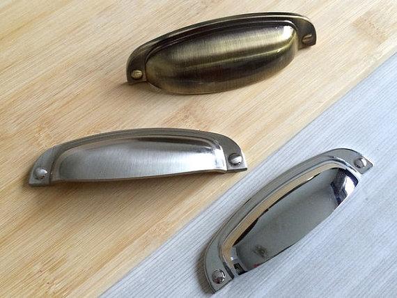 3.75Bin Cup Dresser/Drawer Pulls Handles Knobs Kitchen Bronze Silver Steel Nickel Chrome Furniture Cabinet Door Handle Hardware<br><br>Aliexpress