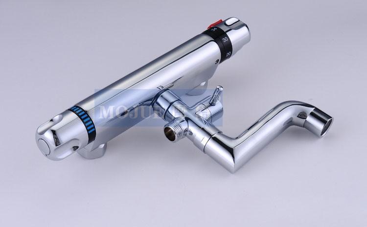 Купить Двойной Ручкой Настенный Контроля Температуры Душ Поворотный Ванна Носик с ручным Душем Термостатический Смесители