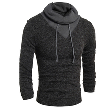 Sweater Pullover Men 2016 Male Brand Casual Slim Sweaters Men Thin Delta Stitching Hedging High Collar Men'S Sweater XXL VNVT(China (Mainland))
