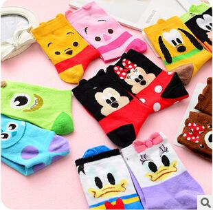 Kawaii Cartoon Famous Characters Cotton Socks Novelty Women Socks(China (Mainland))