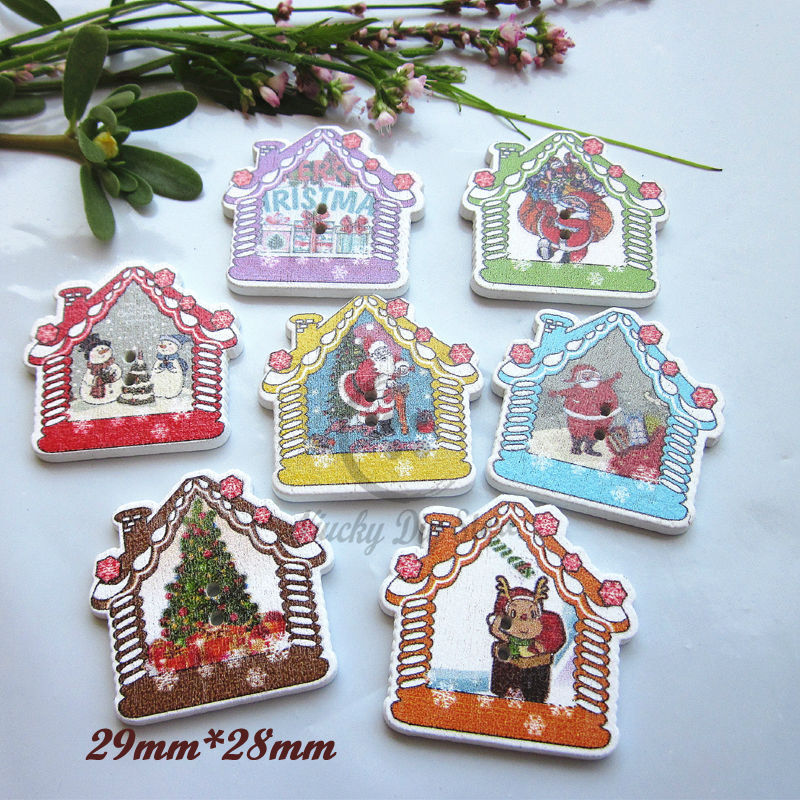 Christmas buttons 144pcs Mixed Christmas House Decorative Buttons Christmas Craft accessories Scrapbooking Wood Sewing Supplies(China (Mainland))