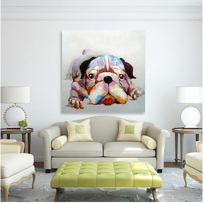 High quality pure hand-painted home decor painting abstact oil painting abstract oil painting animals (dogs)(China (Mainland))
