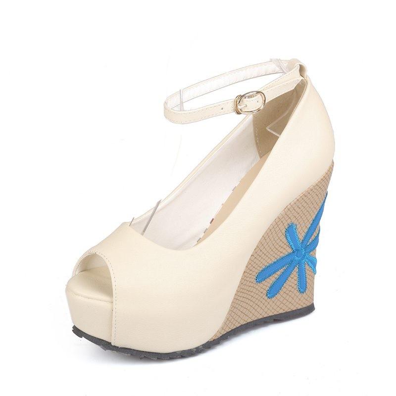 ซื้อ พลัสSize34-41 2016ใหม่เซ็กซี่ปั๊มP Eep Toeข้อเท้าชิ้นสายรัดปั๊มพิมพ์เลดี้รองเท้าฤดูร้อนรองเท้าส้นสูงรองเท้าPS1399