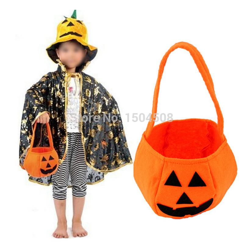 2016 New Halloween Smile Pumpkin Bag Kids Candy Bag Children Handheld bag Party Supplies Trick or Treat(China (Mainland))
