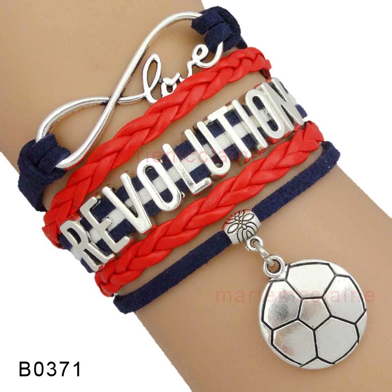 (10 Pieces/Lot) Infinity Love Major League Soccer New England Revolution Soccer Wrap Bracelet Soccer Fans Navy Red Custom(China (Mainland))