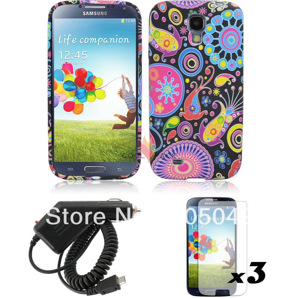 Gel TPU Rubber Case Cover Skin +Films Screen Protectors+Car Charger For Samsung Galaxy S4 IV i9500(China (Mainland))