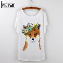 Buy 2017 Summer Clothing cute Fox Print Women T shirt Large Size Camisetas Feminina O-Neck Loose t-shirt Female Tops Tee Shirt Femme for $4.88 in AliExpress store