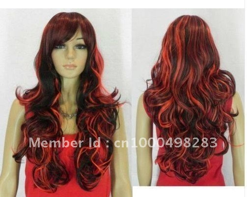 free Shipping* new Beautiful Color bright RED long curly mix wig