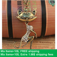 Hello Kitty  N4081 fashion jewelry vintage accessories  cat necklace, Fox necklace(China (Mainland))