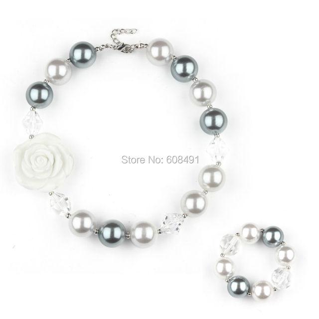 Новое поступление белый цветок коренастый жевательная резинка ожерелье коренастый ...