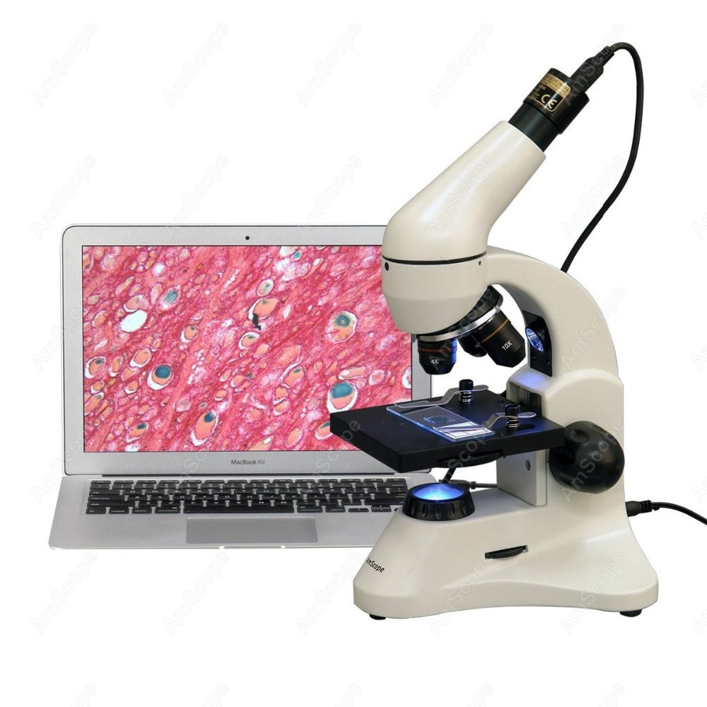 Framework Science Microscop--AmScope Supplies 40X-1000X Dual Light Glass Lens Metal Framework Science Microscope + 2MP Camera<br><br>Aliexpress