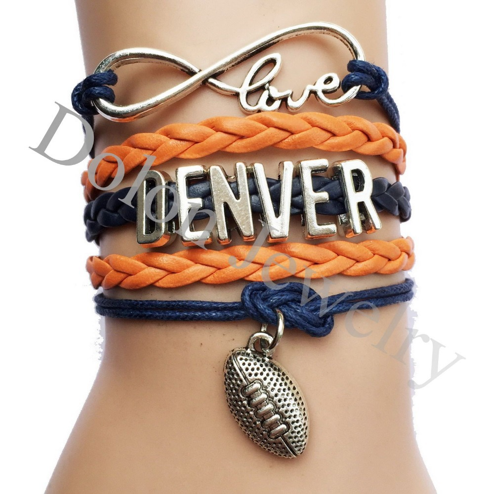 Personalized Dark Blue Rope Orange Leather Braid Football Charm bracelet NFL Denver Team Bracelets Sports Jewelry Drop Shipping(China (Mainland))
