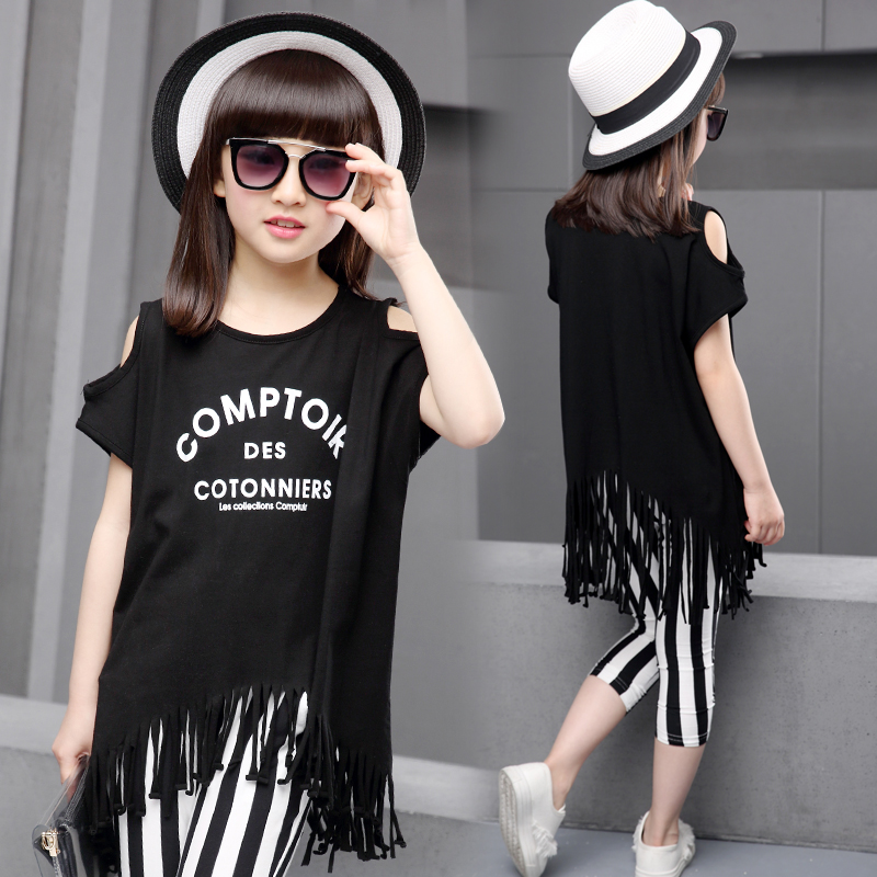 girls outfits kids summer clothes fringe tassel t-shirt +striped pants fashion Korean set teenager 11 12 10 years old clothing(China (Mainland))