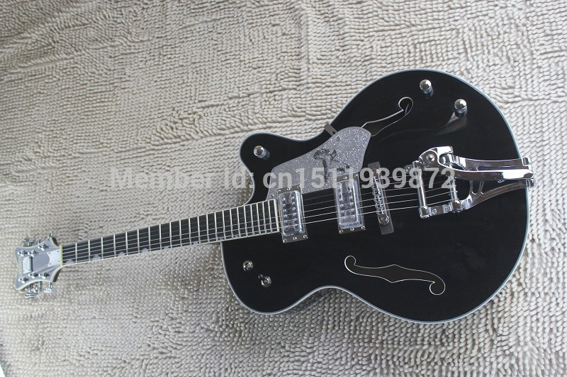 Top quality Korean Tuners Gretsch Falcon 6120 JAZZ Semi Hollow tiger flame body with Bigsby Tremolo black Electric Guitar(China (Mainland))