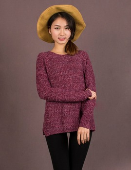 2016 Spring Women Mixed Color Wool Plus Size Oversized Loose Knitted Pullover Jumper Sweater O-Neck Long Sleeve Fashion