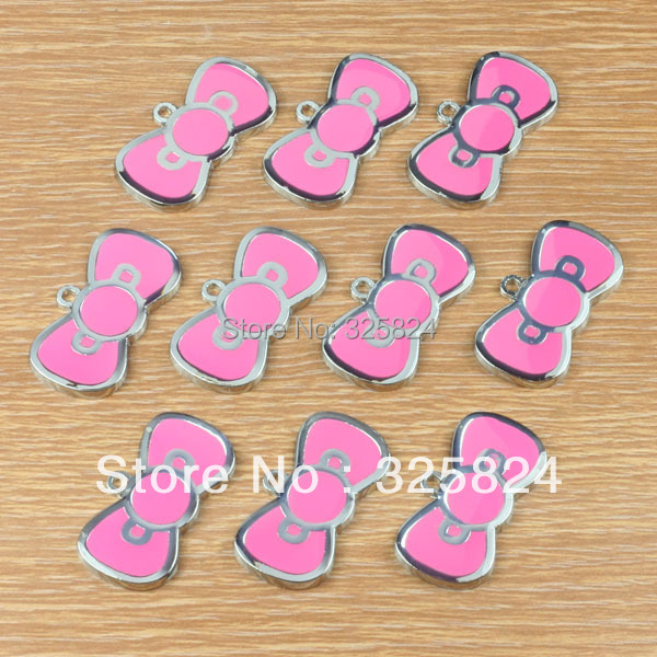 Lot 2Cute Pink Bow Metal Zinc Alloy Enamel Charms Pendants Girls Women Key Jewelry Crafts Making Deco DIY - The store