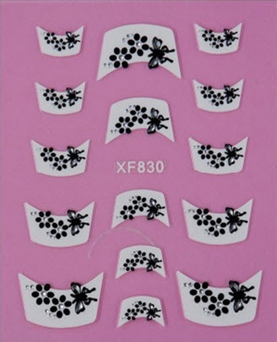 10packs/lot 3D Nails Stickers ongles Butterfly French Tips Nail Art Stickers Decals Decoration DIY Stickers For Nail XF830(China (Mainland))