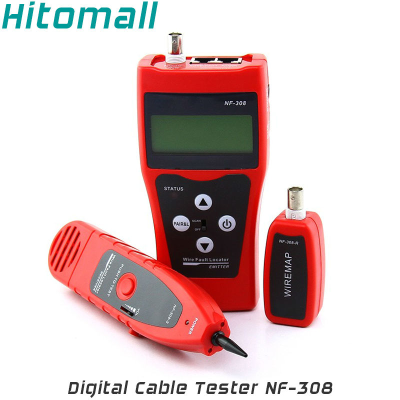 RJ45 Ethernet LAN Network Cable Tester Line Finder RJ11 Telephone Line BNC Wire Tracker Cable Tracer Cable Length Measurement