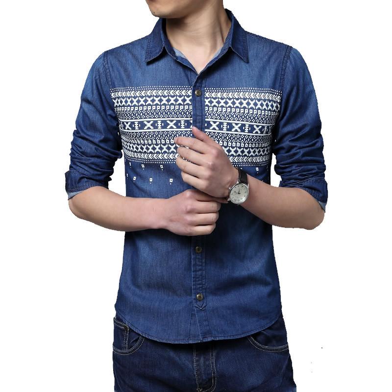 2015 New Men Casual Long Sleeve Denim Dress Shirts Vintage Washed Floral Printing Shirts Top Blouse Plus Size B1240(China (Mainland))