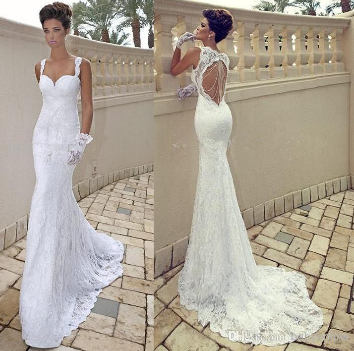 2015 Cheap Sexy Spaghetti Straps Ivory Lace Backless Mermaid Sheath Backless Summer Wedding