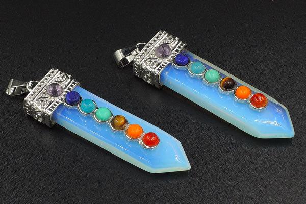 Mixed Gemstone Beads Opal Sword Pendant Imitation Rhodium Plated 60*17mm(China (Mainland))