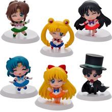 brand 6Pcs Anime Sailor Moon Figure Mercury Mars Jupiter Chibimoon Brinquedos action figure juguetes model toys