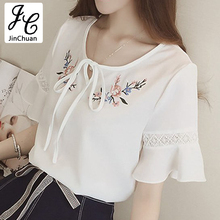 Buy Ete Floral Embroidery Blouse Women Hollow Lace Flare Sleeve Shirts Fashion 2017 Casual Bow Chiffon Tops White Female Blusas for $8.96 in AliExpress store