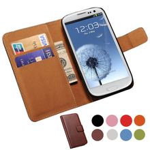 Genuine Leather Case For Samsung Galaxy S3 i9300 SIII Wallet Style Flip Style Phone Bag Cover For Samsung Galaxy S3 Cases(China (Mainland))