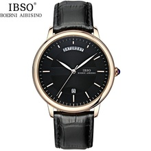 2016 Brand IBSO Wrist Watches For Men Genuine Leather Belt Japan Quartz Movement 30m Waterproof Complete Calendar Wristwatch