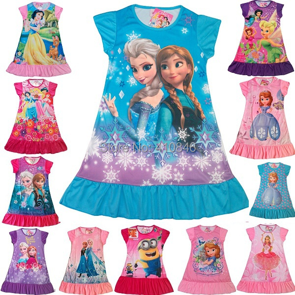 2015 New Girl dress Cartoon Minions Short sleeve dresses  Princess Multicolor girls nightdress 40 pcs lot
