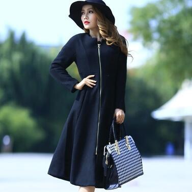 Plus Size 2015 Warm Thick Winter Women Long Woolen Coat O neck Long sleeve Zipper Coats Female Outwear