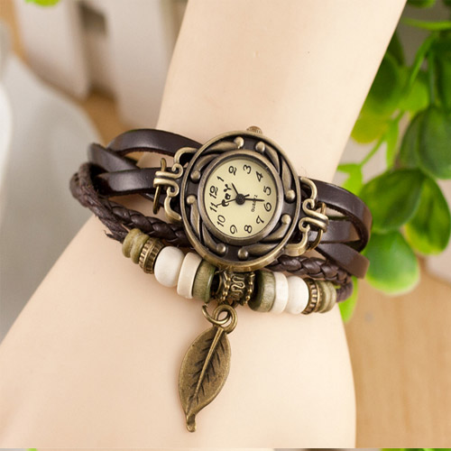 New Hot Sale Original High Quality Women Leather Vintage Antique Watches Bracelet Lady Dress Wristwatches Leaf Lady Bracelet(China (Mainland))