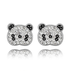 Popular 18K Platinum Plated Anti-allergi cute bear stud earrings full black/clear Austria crystal woman sexy sweet jewellery(China (Mainland))