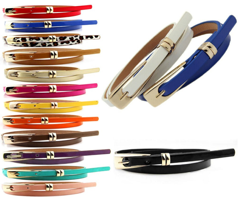 15 colors Multi Color Thin Skinny Faux Leather Waistband Womens Ladies Casual Belt Strap For Free Shipping(China (Mainland))