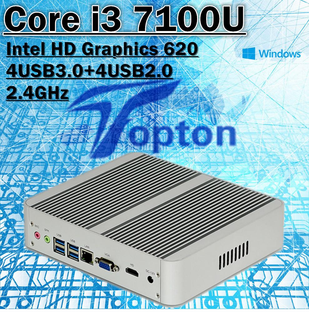 Topton Inter Core i3 7100U Fanless Mini PC Windows 10 Barebone Intel HD Graphics 620 4USB3.0+4USB2.0 Kaby Lake Architecture(China (Mainland))