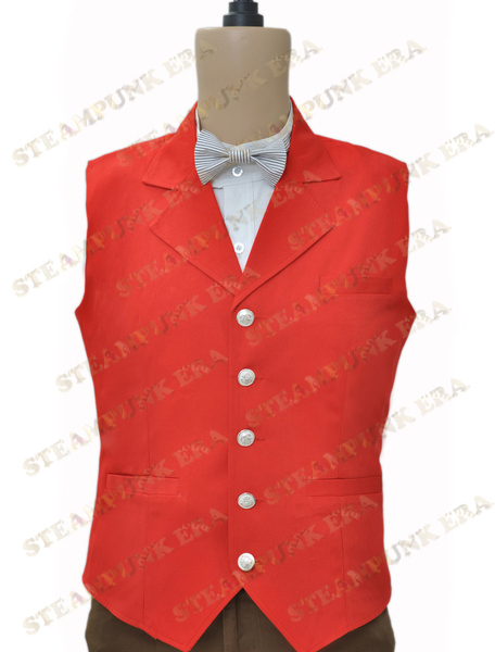 Free Shipping Halloween Costume Unique Red Single Breasted Victorian Steampunk Waistcoat(China (Mainland))