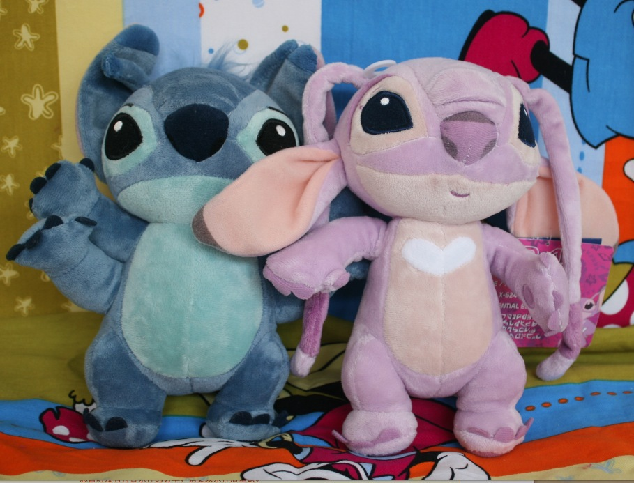 free shipping 2PCS/lot 25cm lilo and stitch four hands stitch+angel plush toys for children action figure plush dolls kids toy4(China (Mainland))