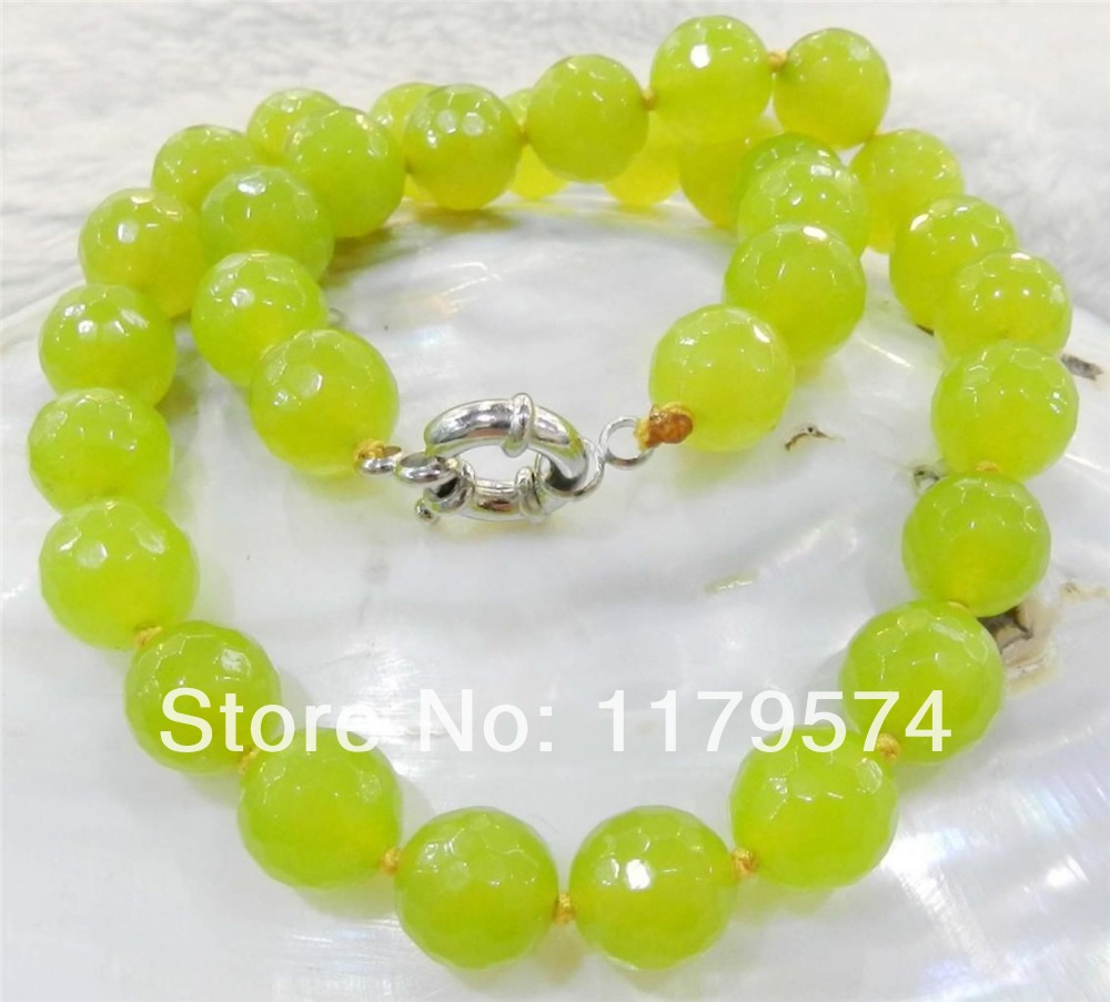"""Free deliver goods wholesale and retail 10mm Faceted Peridot Round Beads Jasper Necklace 18""""AAA wj342(China (Mainland))"""