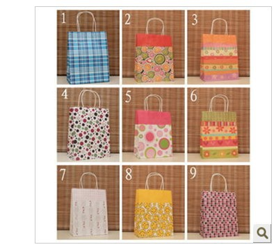 Free Shipping 50pcs/lot 27*21*11cm Colorful Kraft Paper Gift Bag,Festival gift bags,Paper bag with handles<br><br>Aliexpress