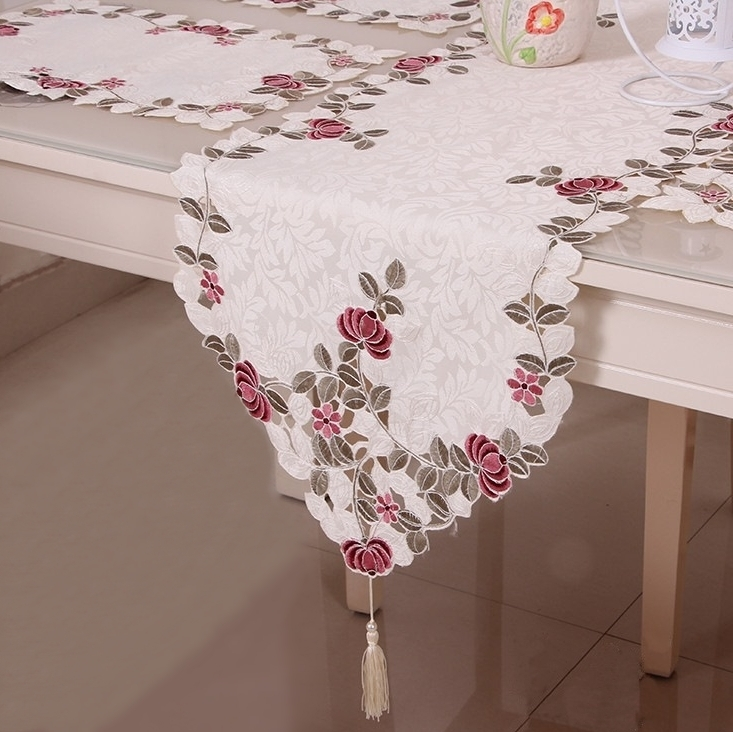 New Arrive Hot Sell Elegant Table Runner Flower Polyester Embroidery Satin Flag Runners Cutwork Floral Embroidered Cloth Covers(China (Mainland))