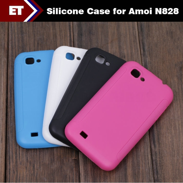 Bundle Sale Silicone cover Case for Amoi N828 Mobile Phone Soft back Shell Back Cover Stylish Design Random Color