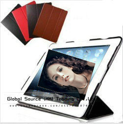Top Quality Ultrathin smart case for ipad 3 with wake up -sleep model leather case for ipad 4 colors with retail + free gift