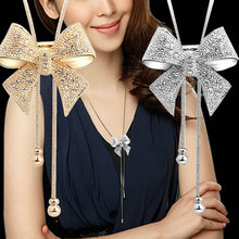 Hot Fashion Noble Alloy Rhinestone Bow Necklace Long Sweater Chain Pendant Necklace(China (Mainland))