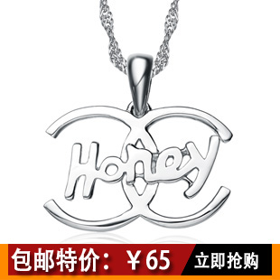 Day gift 925 pure silver platinum knot necklace female hearts and arrows cubic zircon pendant(China (Mainland))