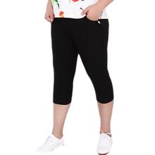 New Fashion Big Size 6XL Slim Pants Casual Women Stretch Black High Waist Pockets Capris  Summer  Fat Pants Capris (China (Mainland))