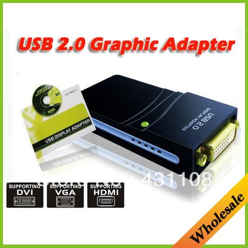 17D USB 2.0 UGA to DVI VGA HDMI Multi Display Dual Monitor Converter Graphic Adapter Video Card Adapter(China (Mainland))