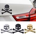 Metal 3D Skull Bone Skeleton Emblem Badge Logo Sticker Car Auto Motorcycle Decoration for VW Ford