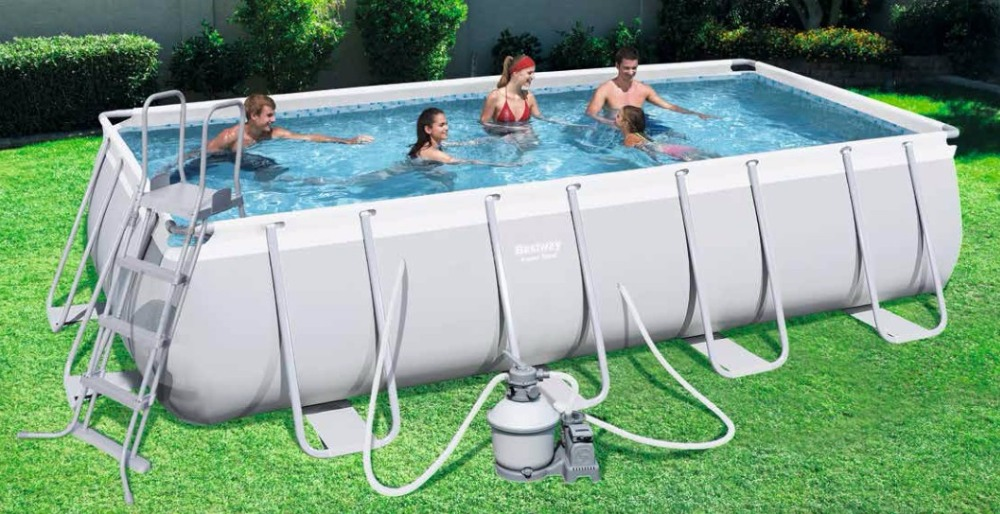 "#56456(for Europe) Bestway 412*201*122cm Power Steel Rectangular Frame Pool Set(Filter+Ladder 162""x79""x48""/Above Ground Pool Set(China (Mainland))"