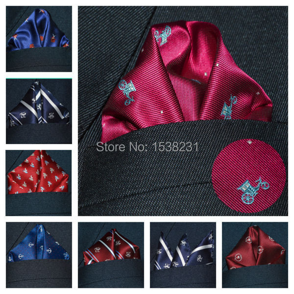 B0324 Men Fashion Polka Dots Floral Pocket Square Hanky Wedding Handkerchief(China (Mainland))