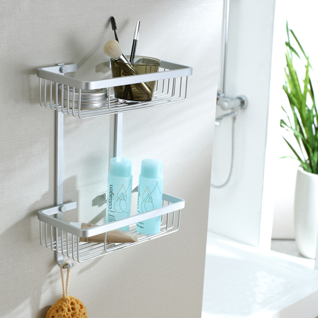 Free shipping aluminum shelf bathroom storage shelves double layer storage rack bathroom with hook accessories
